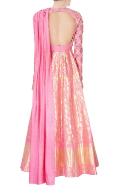 pink kanjivaram silk gown
