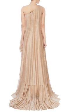 beige shimmer one-shoulder gown