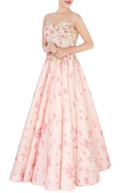 pink floral tissue silk gown