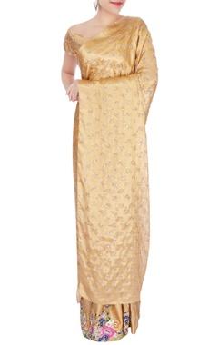 Gold vrindavan silk sari