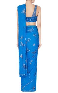 Blue sequin sari & blouse