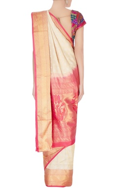 beige  mulberry silk kanchipuram sari