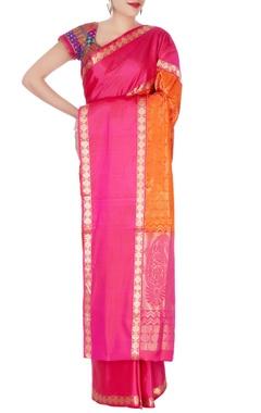orange mulberry silk kanchivaran sari
