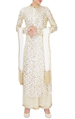 white jaal embroidered kurta set
