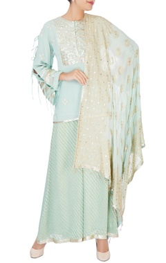 blue embroidered short kurta set