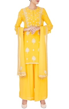 yellow embroidered short kurta set