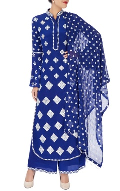navy blue mirror work kurta set