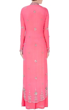 Pink gunmetal embroidered kurta set
