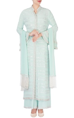 Anushka Khanna Mint blue embellished kurta set