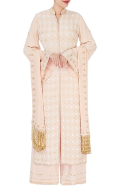 beige pearl embroidered kurta set