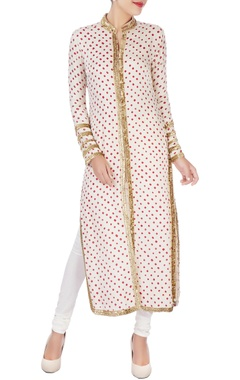 white bandhani jacket & churidar pants