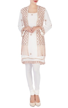 white embellished kurta set