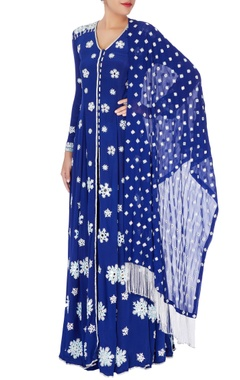 Anushka Khanna Navy blue anarkali with dupatta