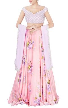 pink jaal embroidered lehenga set