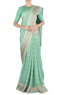 sea green check & polka dot sari & blouse