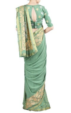Dusty green crushed applique sari & blouse