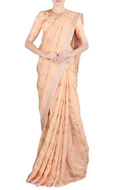 peach zari embroidered sari & blouse