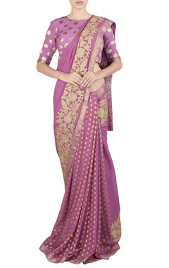 pink crushed applique work sari & blouse
