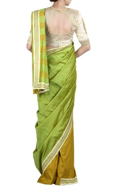 mustard & green check sari & blouse