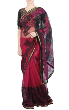 black & pink applique sari & blouse