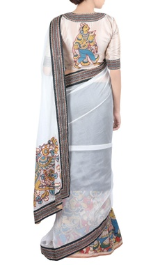 black & white sari in kari work & blouse