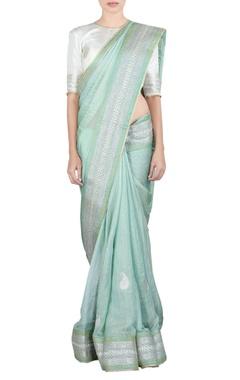 Light green mango butta sari & blouse