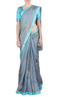 grey & blue zari embroidered sari & blouse