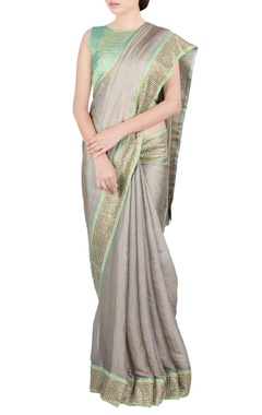 beige & green jaal work sari & blouse