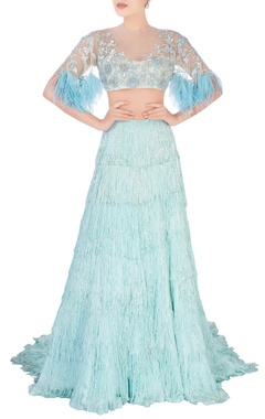 Manish Malhotra Aqua blue sequin and feather design lehenga