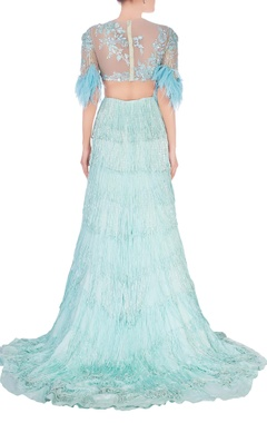 Aqua blue sequin and feather design lehenga