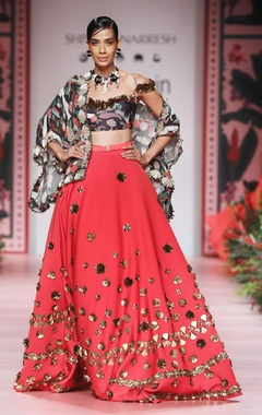 Orange flared lehenga with embellishment