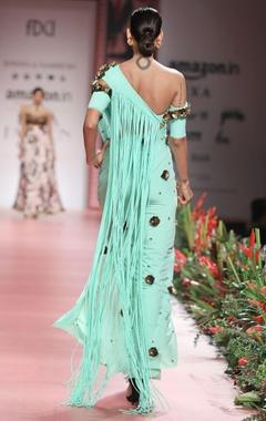 Pastel green tassel sari