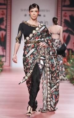 Multicolored printed sari with belt