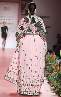 rose pink skein work lehenga
