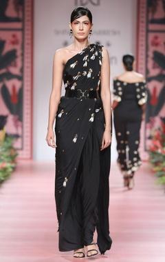 Black embellished concept sari