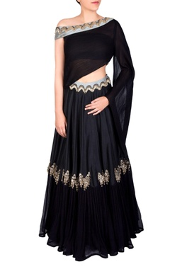 Black draped blouse & lehenga
