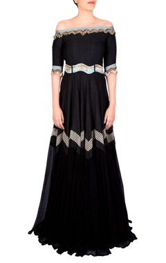 Black flowy belted anarkali gown