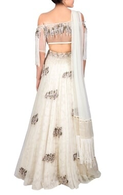 Off-white bead and sequin lehenga