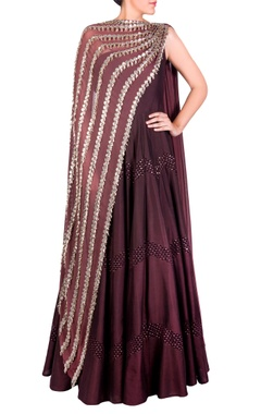 burgundy dual drape anarkali gown