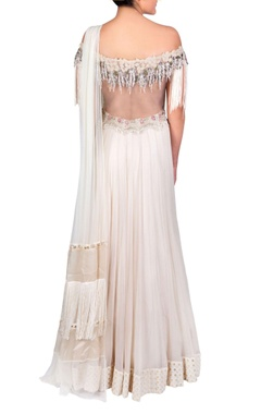 Off-white pearl and tassel bead anarkali