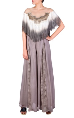 Grey bead and long tassel jumpsuit