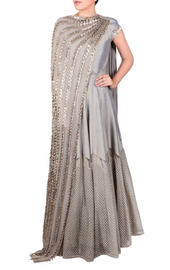 Grey dual drape anarkali