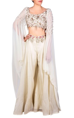White floral blouse & sharara pants