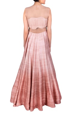Pink tassel & flared anarkali gown