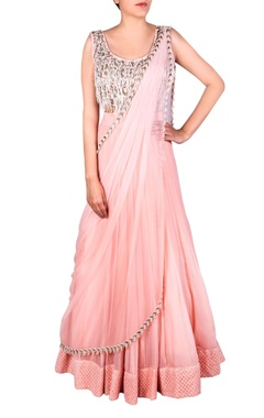 Blush pink bead tassel anarkali gown