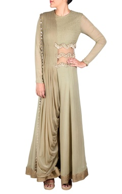 Ridhima Bhasin Pista green draped jumpsuit