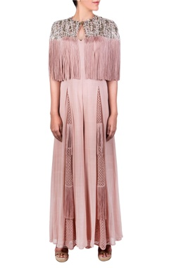 Ridhima Bhasin Blush pink jumpsuit with cape layer