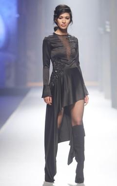 black asymmetric style dress