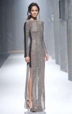 Grey metallic shimmer gown