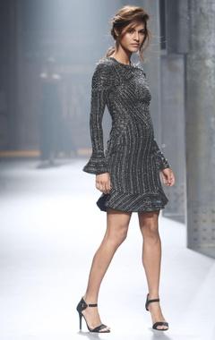 Black shimmer short dress